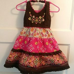 Adorable Brown and Fuschia Floral Halter Dress